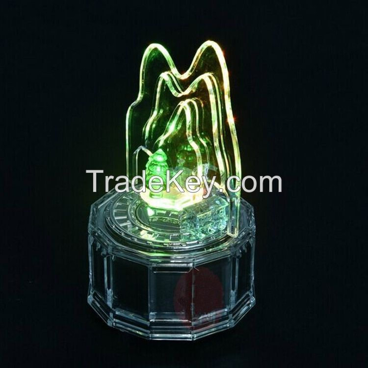 Favorable acrylic forest and train scene music box with led light, wind up music box with custom music