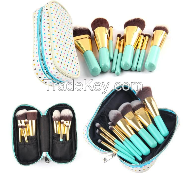 Golden Ferrule Brush set with pouch