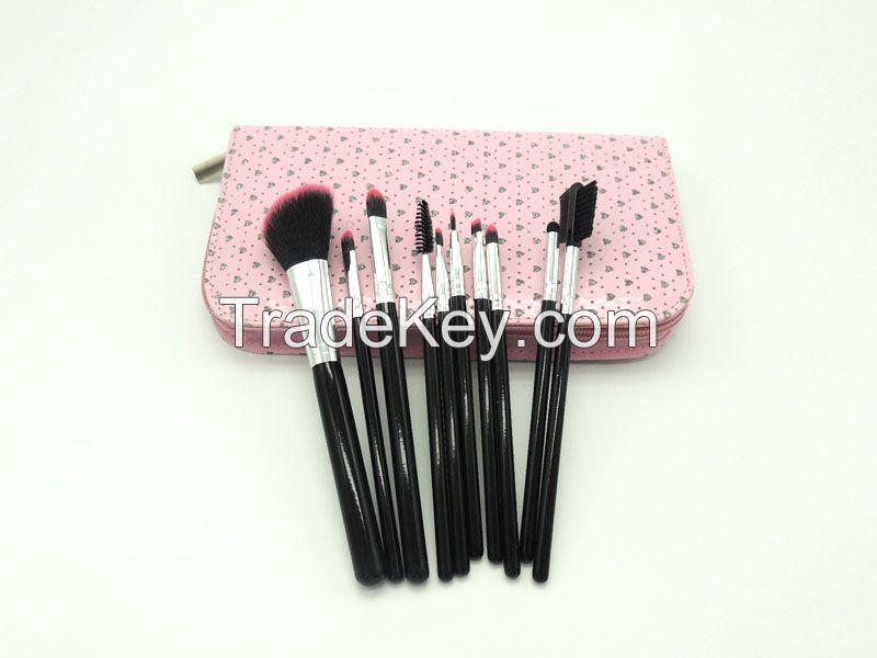 Beauty Brush Set with Pink Cute Pattern Handbag