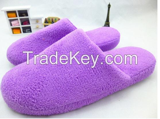 solid coral fleece slipper