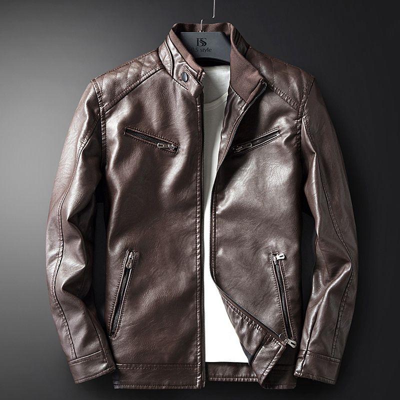 Leather Jacket Men Coats M-3XL High Quality Outerwear Men Business Autumn Male Jacket 609