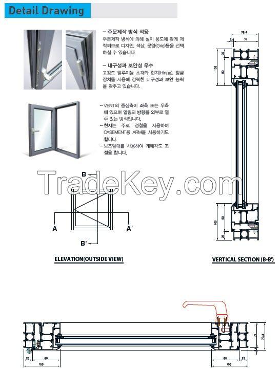 aluminium profile casement window, aluminum window