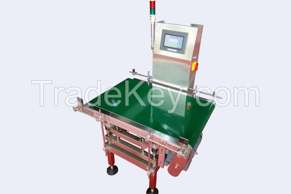 food Online checkweigher heavy load conveyor with roller pusher rejector