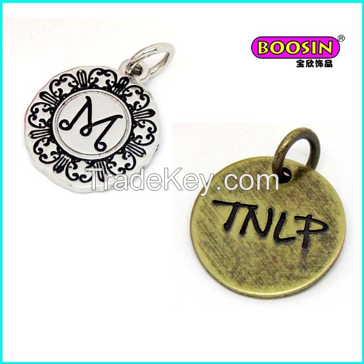 Wholesale custom logo stamped metal tag logo charms