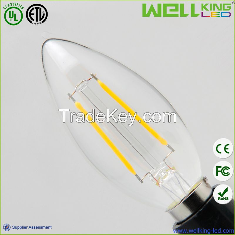 35*119mm Dimmable 4W/2W Clear Glass Led Bulb Filament With E12/E14 Base