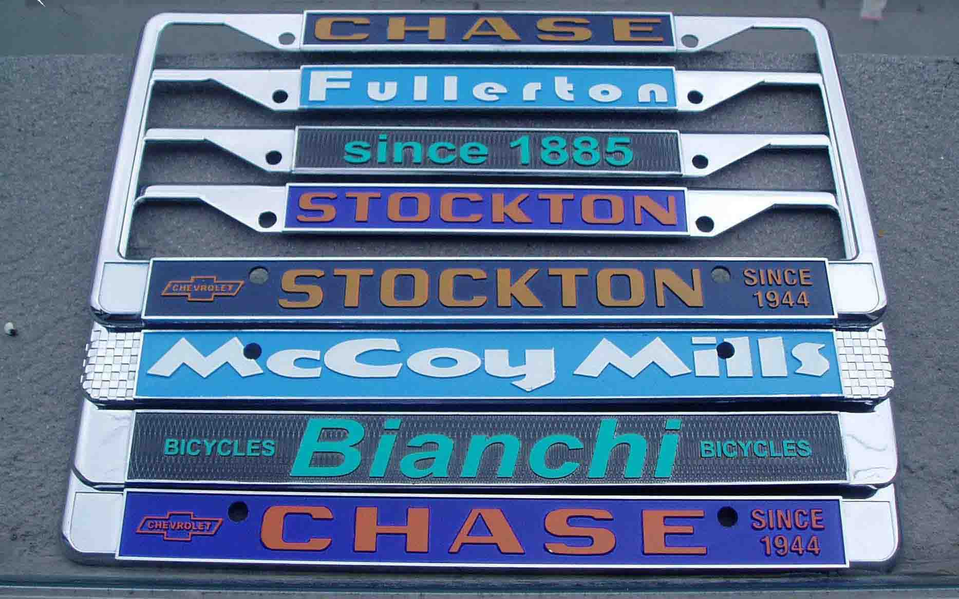 Zinc die-cast license plate frames: USA and European