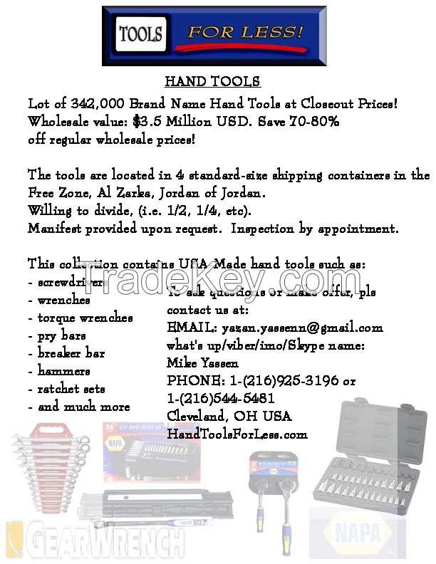 LOT of 342, 000 Tool in Free Zone, Al Zarka, Jordan at Below Wholesale