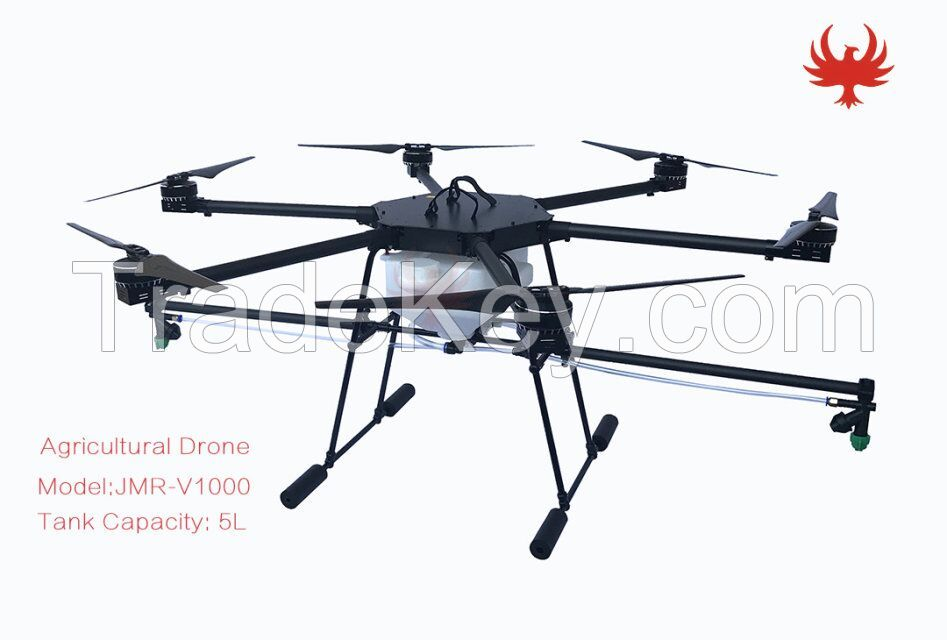 Foldable 5KG UAV Six Rotor Agricultural Drone Crop Sprayer drone