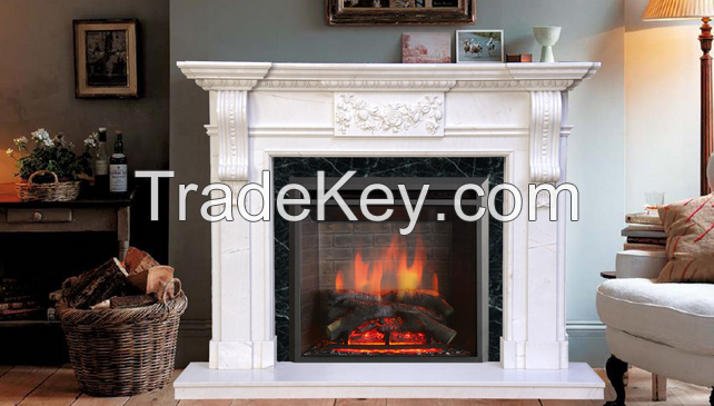 Home decorative hand carved antique natural marble fireplace mantel