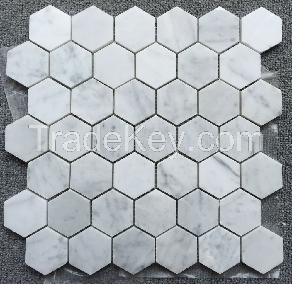 Carrara White MosaicTile White Marble Mosaic 2 Hexagon Polished