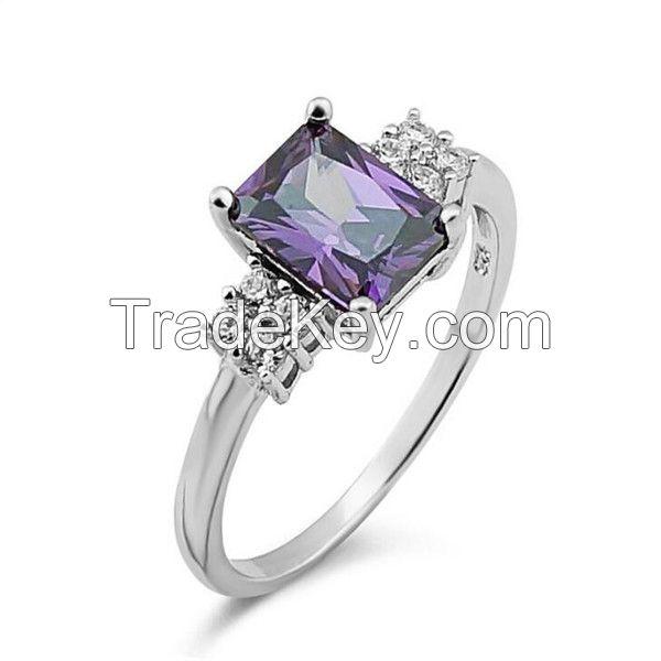Charm Rectangle Gemstone Silver Wedding Ring