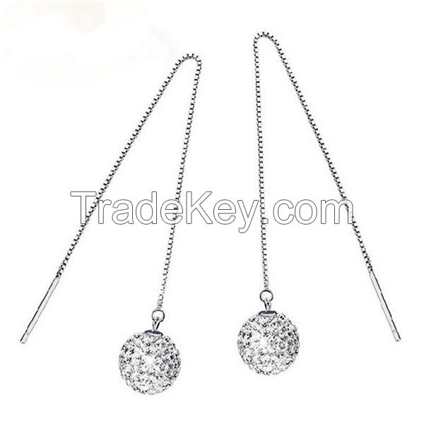 Personalized Fashion Ball Pendant Silver Earring Jewelry