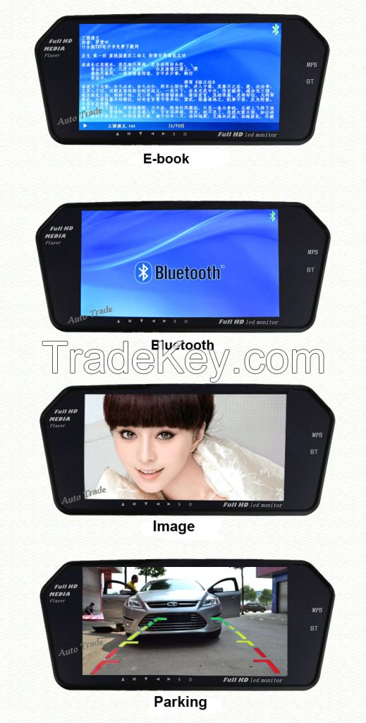 7 Inch Car Mirror Monitor 12V Car Rearview Mirror Monitor for Rear Vie