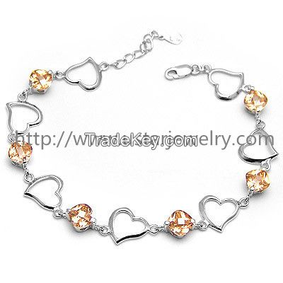 Fashion European Style Love Charm Silver Bracelet
