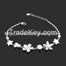 925 Sterling Silver Jewelry Heart Bracelet