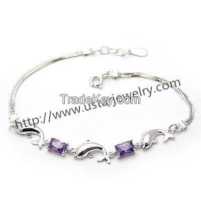Diamond Silver Bracelet Cute Female Dolphin Jewelry