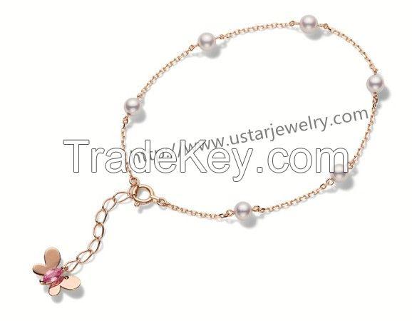 Diamond Pearl Silver Bracelet Cute Female Butterfly Jewelry