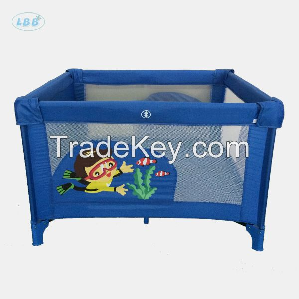 Baby square playpen with plastic ring