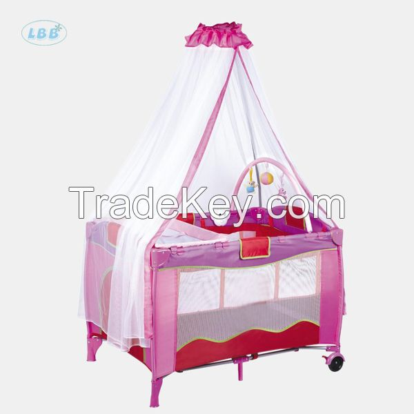 Baby travel cot with luxury mosquito net
