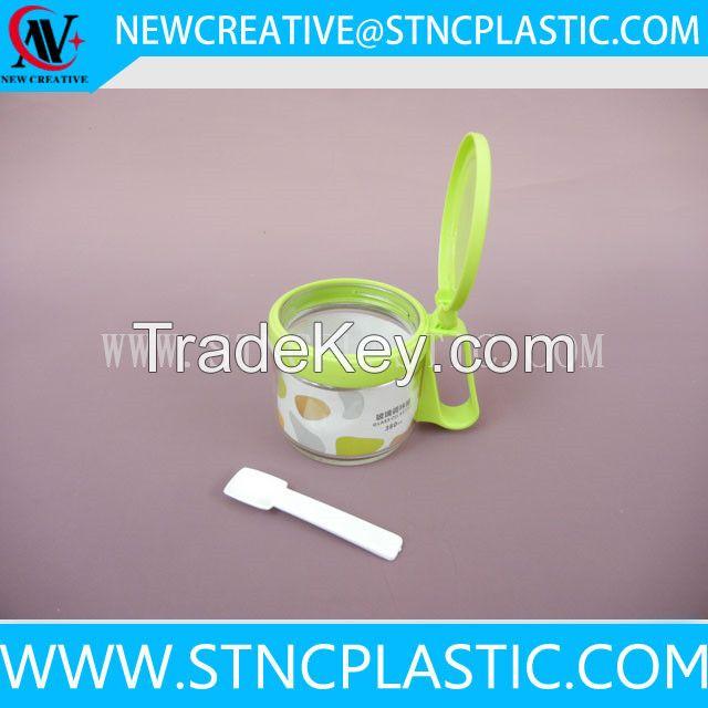 Clear Glass Condiment Dispenser/Spice Jar Bottle/Seasoning Box