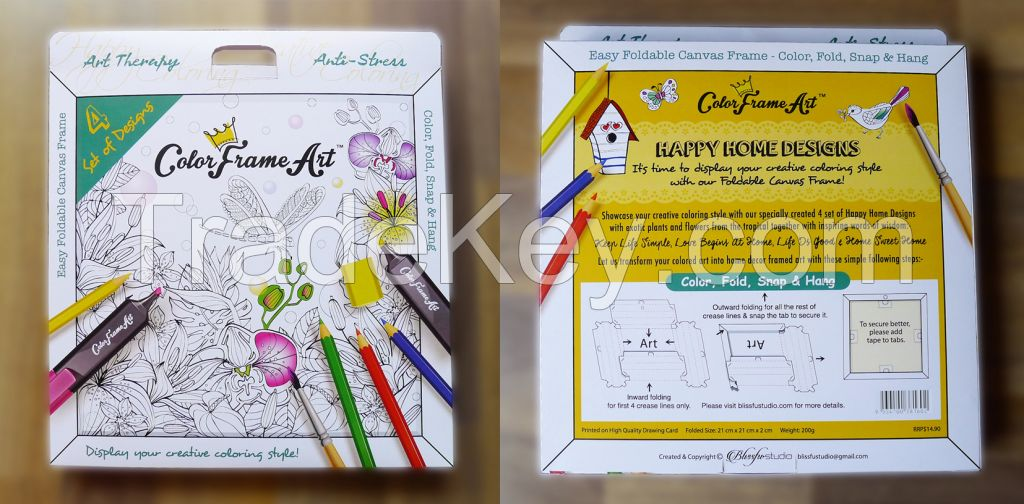 Art Therapy Adult Coloring Foldable Canvas Frame with 4 designs