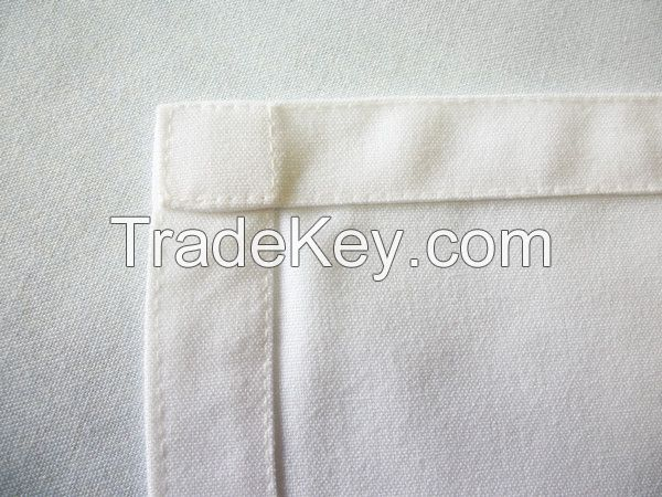 Best selling MJS spun polyester table cloth white plain style double stitch for square and round tables