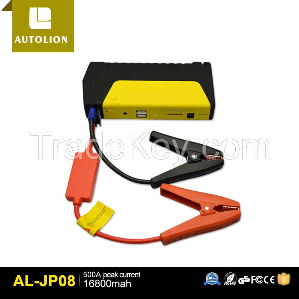Golden Supplier provide OEM service with Best Price for 16800mah jump starter power bank with LED light to gasoline jump start