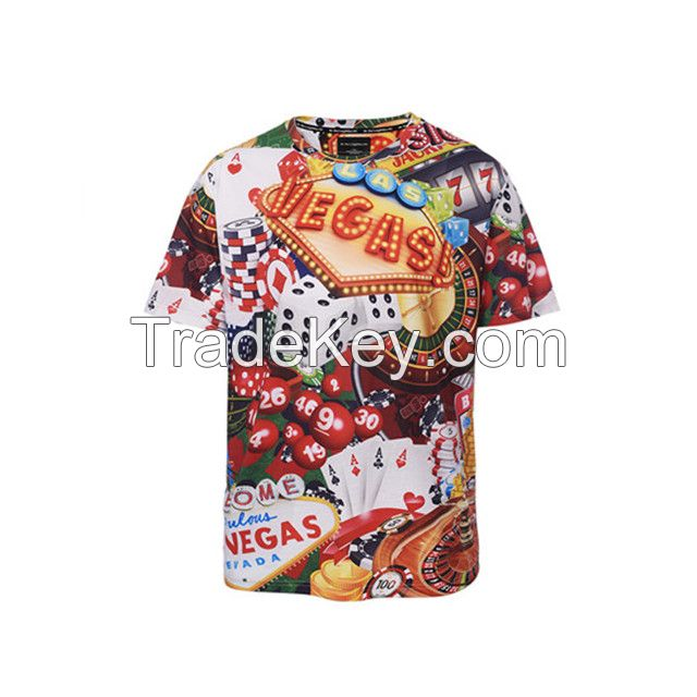 Hot style fashion personality round collar short-sleeved 3D men's T-shirt custom-made offerings