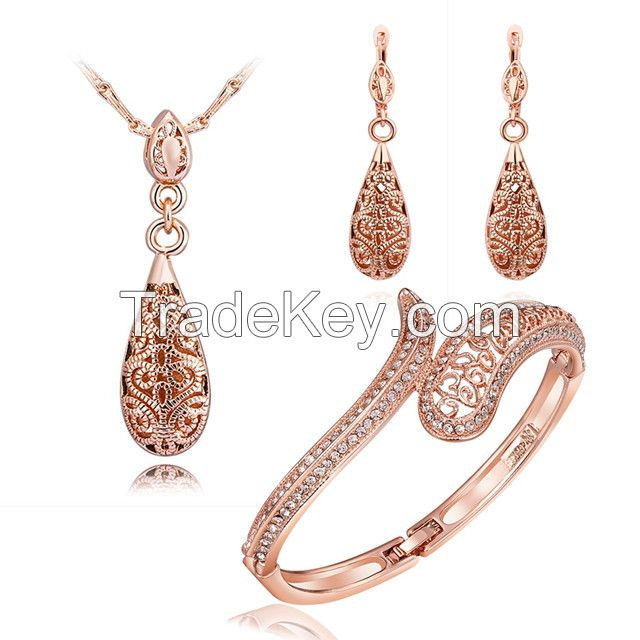 Heart Shaped jewelry sets fashion wholesale silver plated jewelries