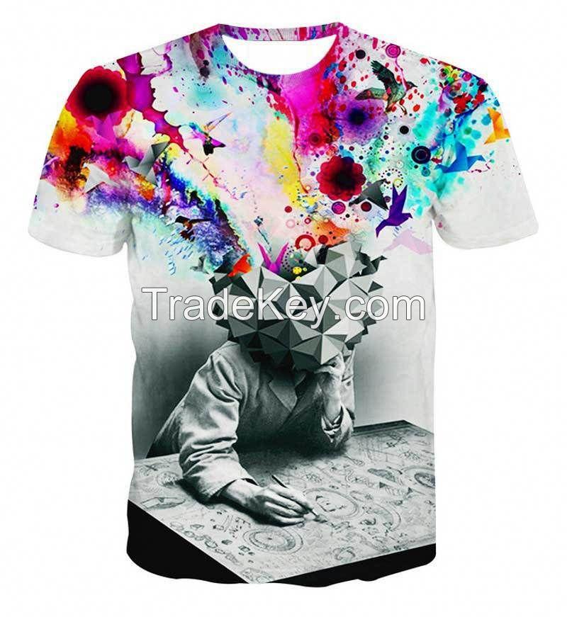 Men's Fashion 3D printed Skulls Beauty Animal Creative T-Shirt 3d printed short sleeve T Shirt O-neck Men Tee Shirts M-XXXL