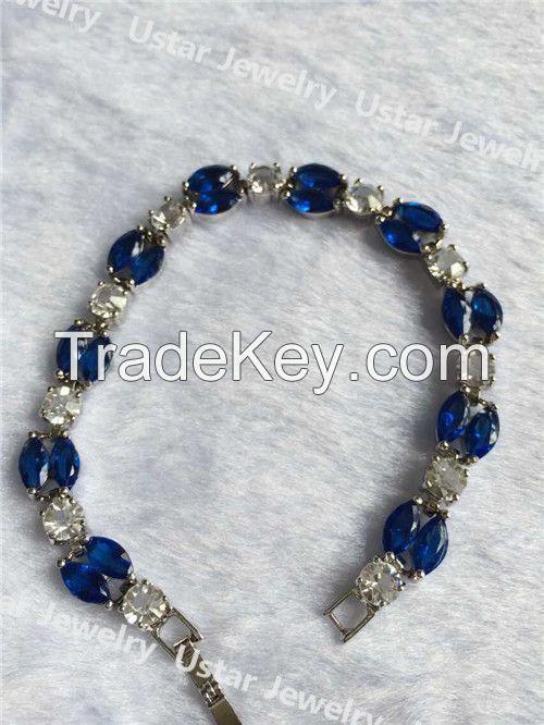 Good Quality Women Fashion Silver Bracelets with Big Zircons