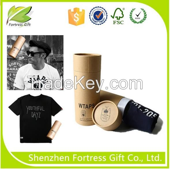 Factory cheap kraft paper t-shirt paper tube packaging