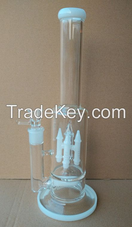Glass Water Pipe (16 Inches White Rockets Perc)