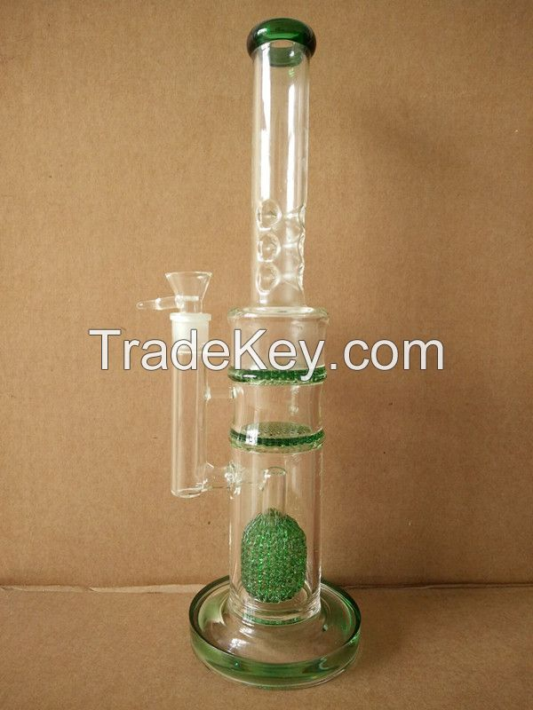 18 inch large size glass hookah pipe with double honeycomb perc 2 thick ring 9 ice catcher