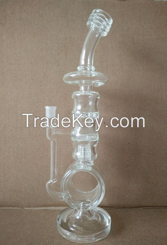 18 inch large size glass hookah pipe with honeycomb perc