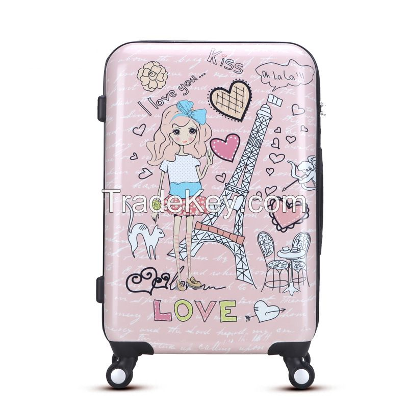 100% new imported abs pc travel luggage set with spinner wheel