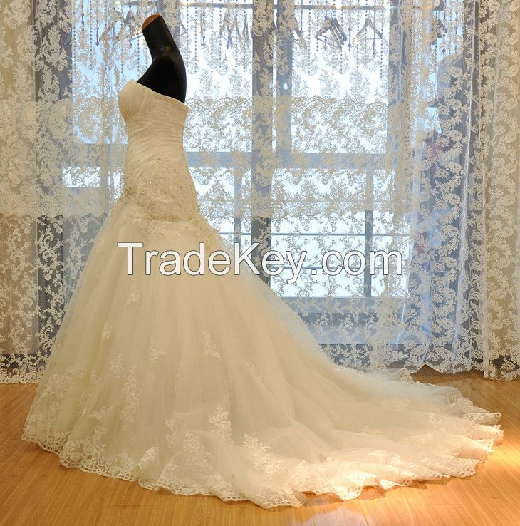 Strapless Princes Tulle Skirt Wedding Dress Real Picture Sweetheart