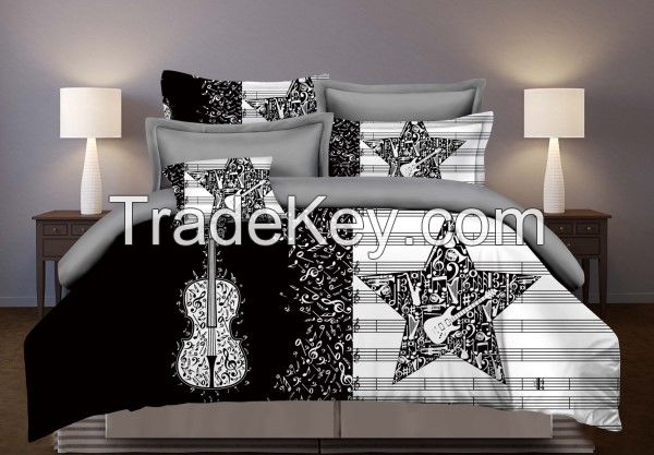 Personalized microfiber  bedding  set with printing ,100% polyeseter ,90gsm