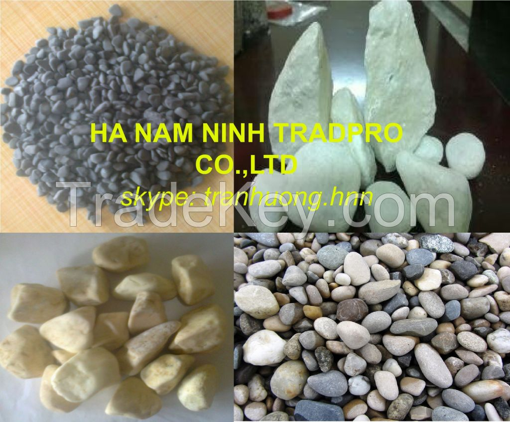 white , colorful, decorative natural pebble stone for paving or decoration