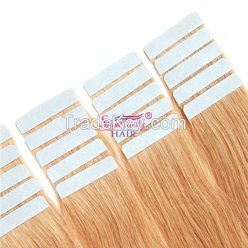 PU Tape In 100%Remy Human Hair Extensions Seamless Skin Weft Hair
