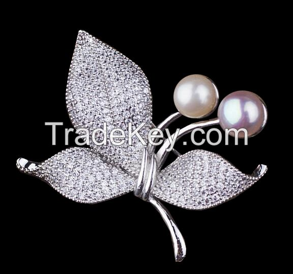 925 sterling silver / brass pearls set with CZ butterfly brooches