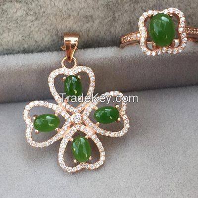 popular new style silver jewelry sets, pendant and ring with green jade CZ and rose gold plating