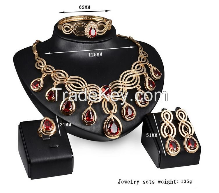 red ruby fashion jewelry sets for engagement and wedding