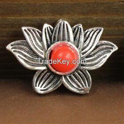antique silver coral pendants lotos flower pendant