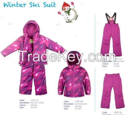 New design 2015 kids winter sports one piece waterproof snow children kids ski suits