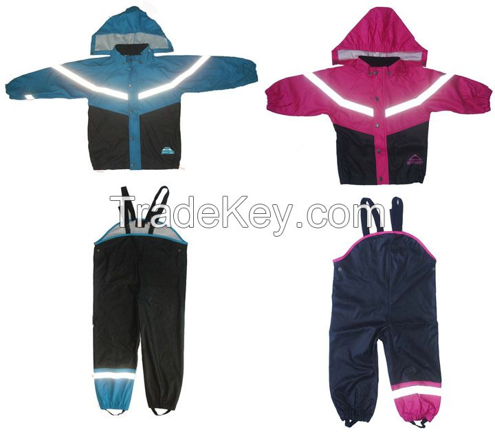 Raincoat Suits Wholesale Cheap Rainwear Fashion Reflective Safety PU Kids Raincoat Suit