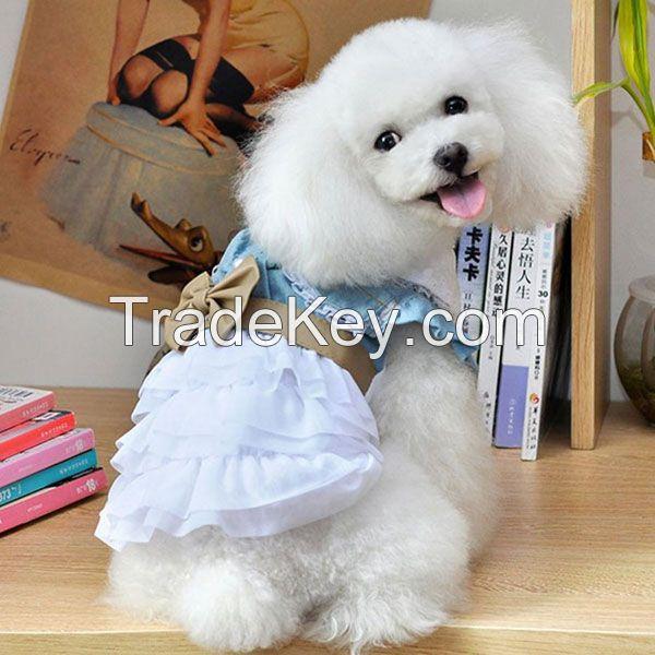 Lace Bow Denim Princess Small Dog Dress Puppy Skirt Clothes Apparel