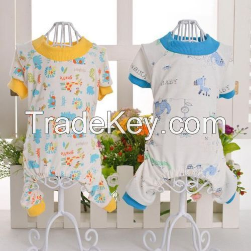 Puppy Pet Dog Cotton Jumpsuit Pajamas Soft Cute Animals Printed Coat Shirt Clothes Apparel