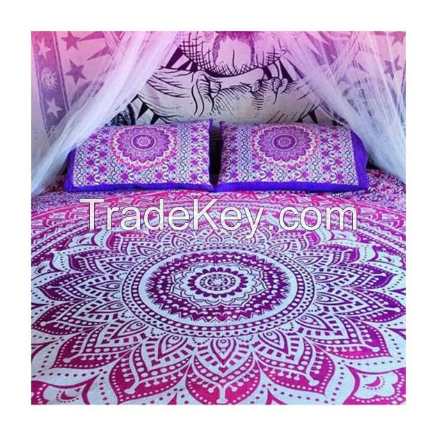PINK OMBRE WALL HANGING BEACH THROW BEDSPREAD MAND
