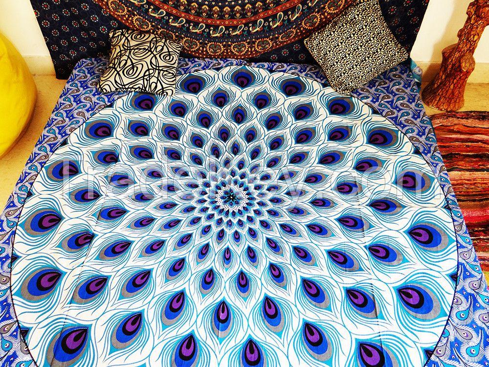 PEACOCK FEATHER BLUE MANDALA BEDSPREAD WALL HANGIN